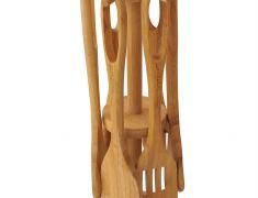Бамбукови прибори, стойка, pribori, ot bambuk, 6patula, lajica, shpatula