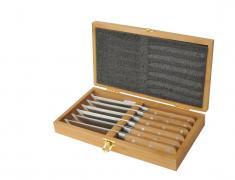 стоманени, ножове, комплект, бамбукова кутия, въглеродна стомана
