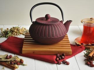 чайник, чугун, червен, 1,5 Л, chugunen, chainik, za 4ai