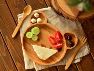 Teddy - Бамбуков комплект за хранене на деца Мече, от 3 части