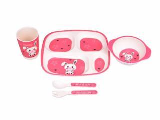 Bunny - Бамбуков комплект за хранене на деца Зайче, 5 части